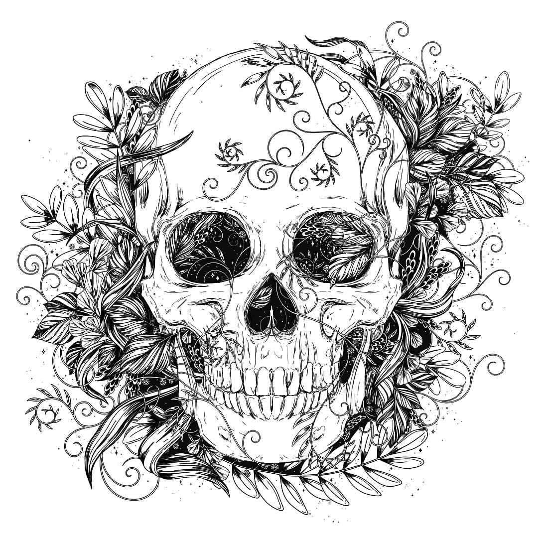 Happy Halloween Drawn In Procreate Swipe To See The Black And White Version Which Naturally I Pr Skull Coloring Pages Skulls Drawing Skull Illustration