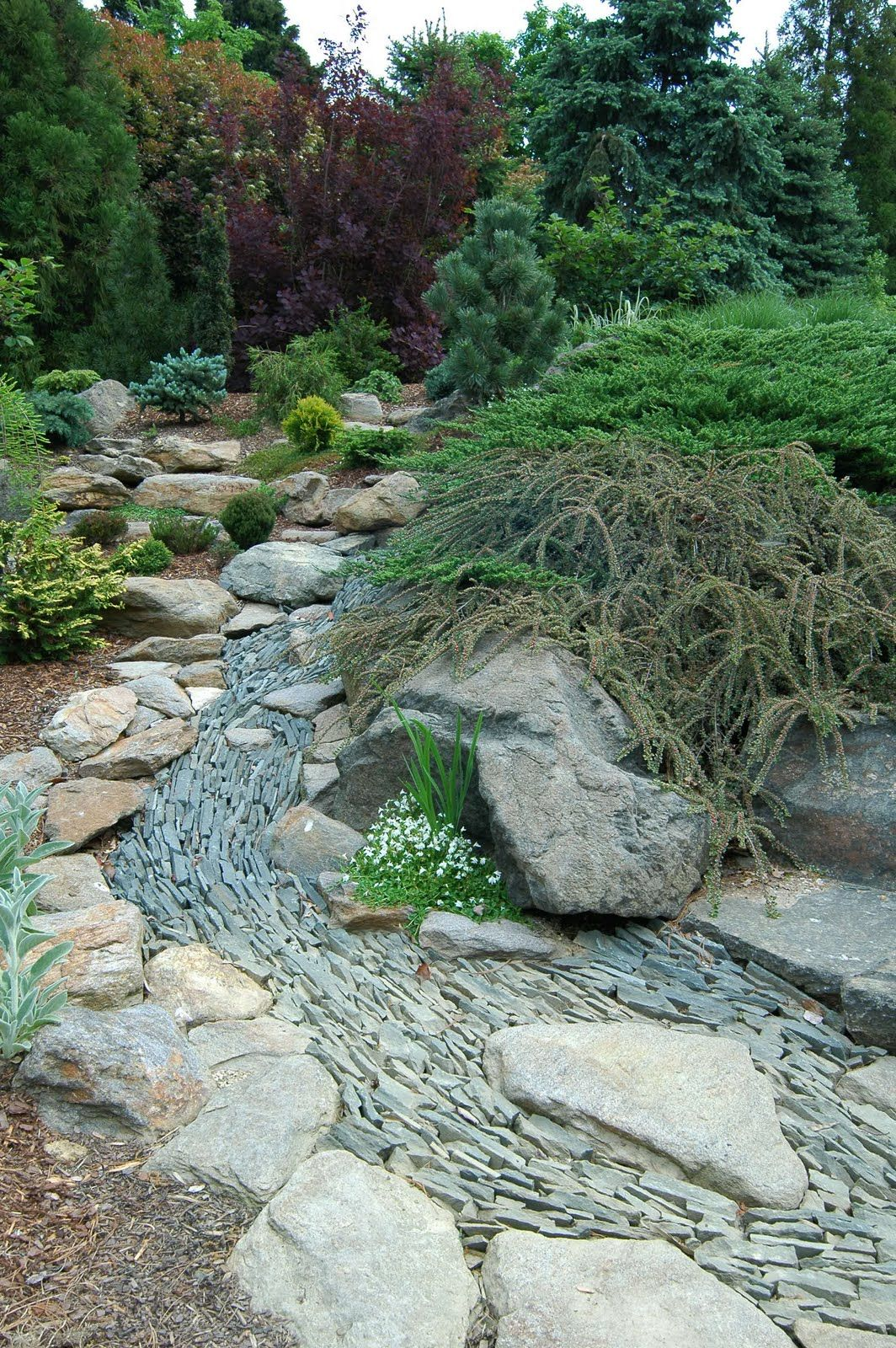 slate water dry garden landscaping