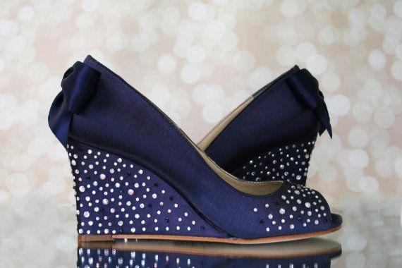 Custom Wedding Shoes Navy Blue Peep Toe Wedge Custom Wedding Shoes With Silver And Blue Navy Blue Wedding Shoes Wedding Shoes Wedge Blue Navy Wedding Shoes