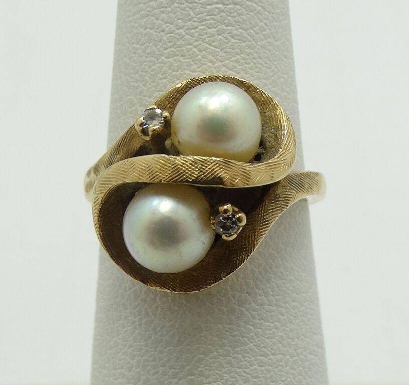 """14K Gelbgold Diamant und Perlen Ring Größe 5 <a href=""""http://6.2g/"""">6.2g</a> A2846"""