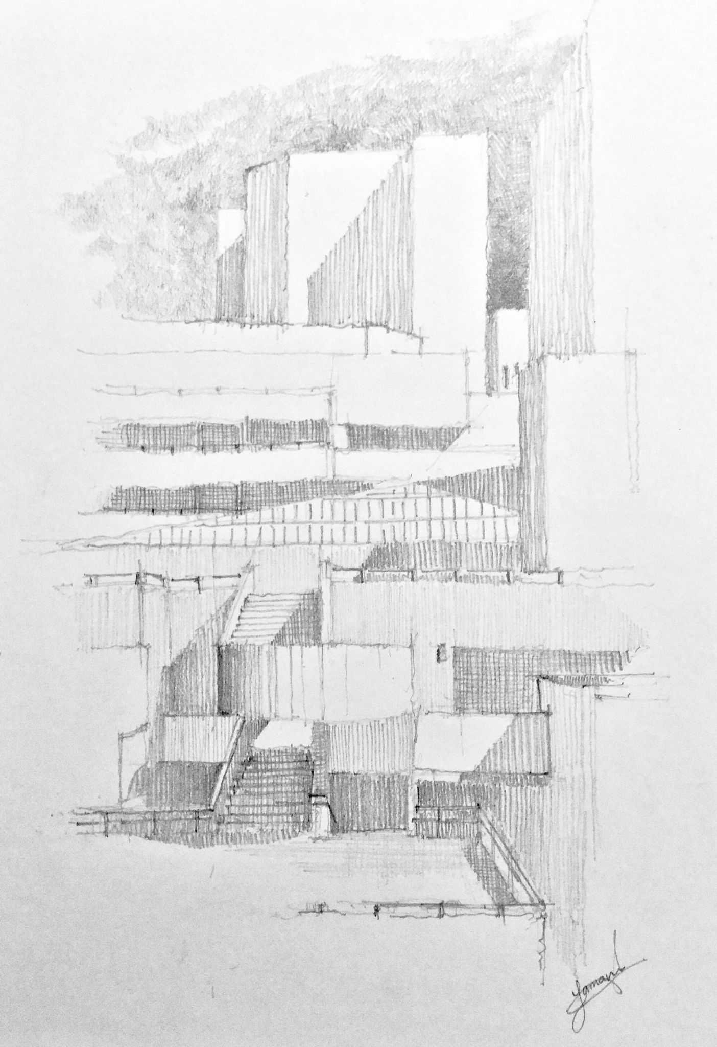 Royal national theatre london united kingdom pencil drawing using h 2b