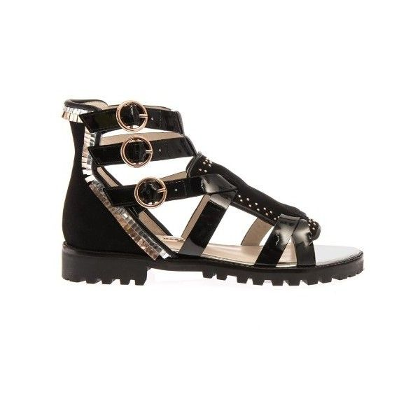 Sophia Webster Marnee leather gladiator sandals (£262) ❤ liked on Polyvore featuring shoes, sandals, black gold, leather strappy sandals, roman sandals, black leather sandals, strappy gladiator sandals and leather strap sandals