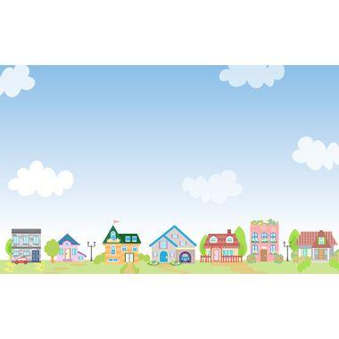 かわいい街並み 住宅地 無料背景イラスト イラスト かわいい 青空