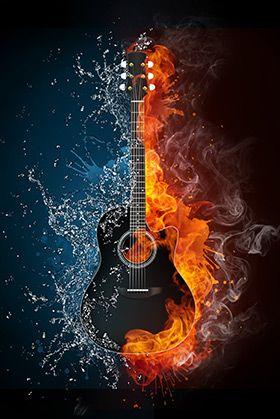 Fire Ice Guitar Wallpaper Wall Decor Music Wallpaper Art Music Music Artwork