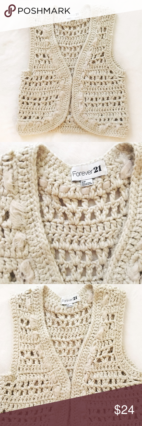 White / cream sweater vest with fur This faux wool and faux fur ...