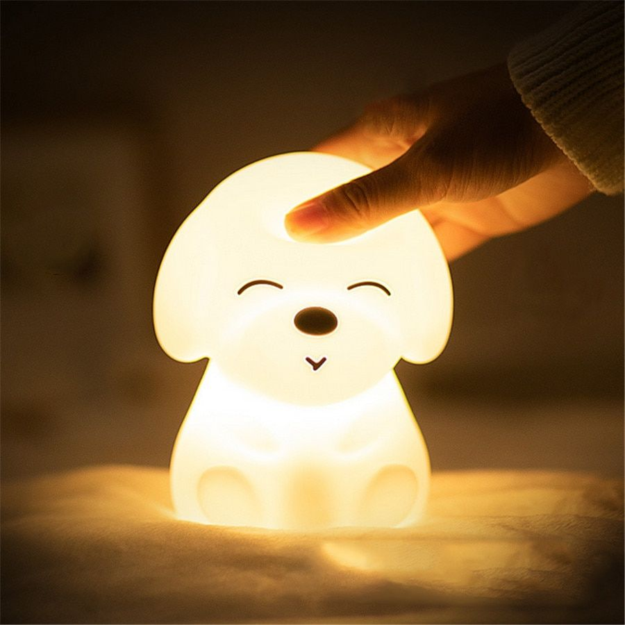 Colorful Dog Led Night Light Animal Light Usb Rechargeable Silicone Soft Cartoon Touch Light Children Night Lamp Bedroom Light In 2020 Cute Night Lights Led Night Light Night Lamps