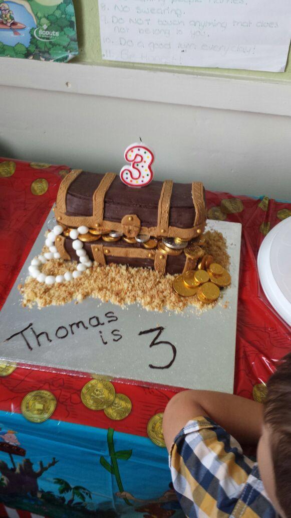 Pirate treasure chest third birthday cake