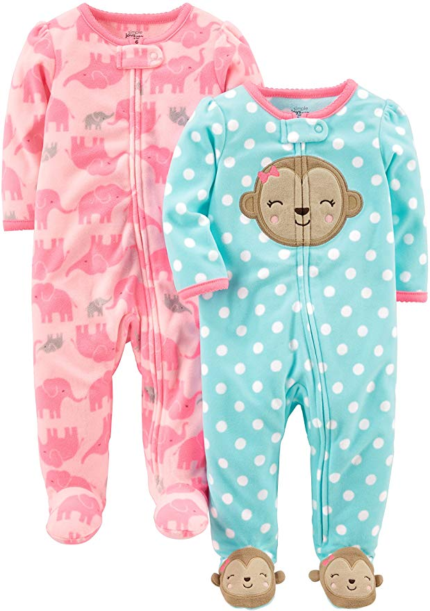 Pack of 2 Simple Joys by Carters Baby Girls 2-Pack Fleece Footed Sleep and Play