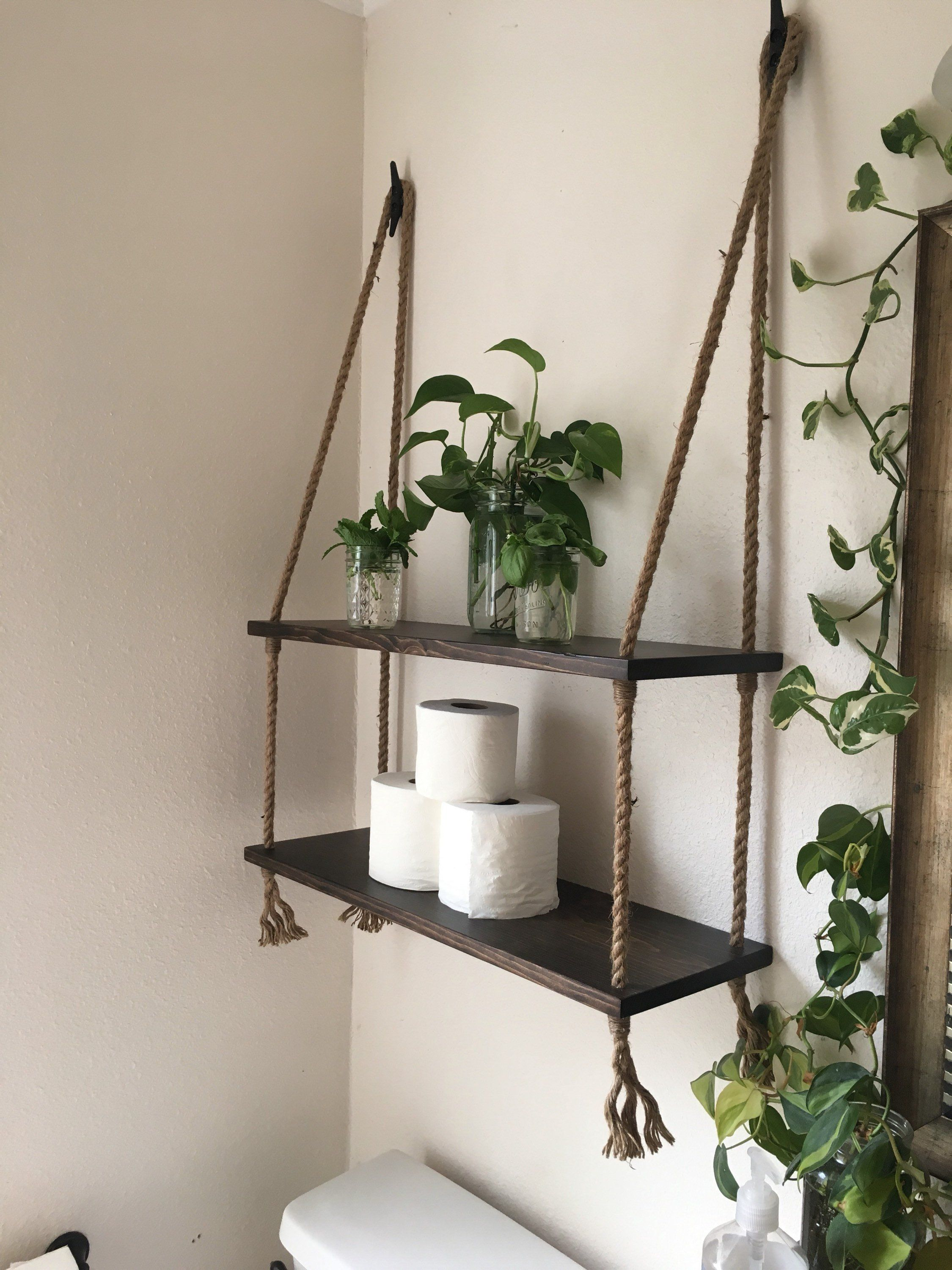 Photo of Wood and Rope Hanging Shelves in Expresso Stain- Bathroom shelves- Small Bathroom Storage – Entry Way Shelves- Living Room Shelves