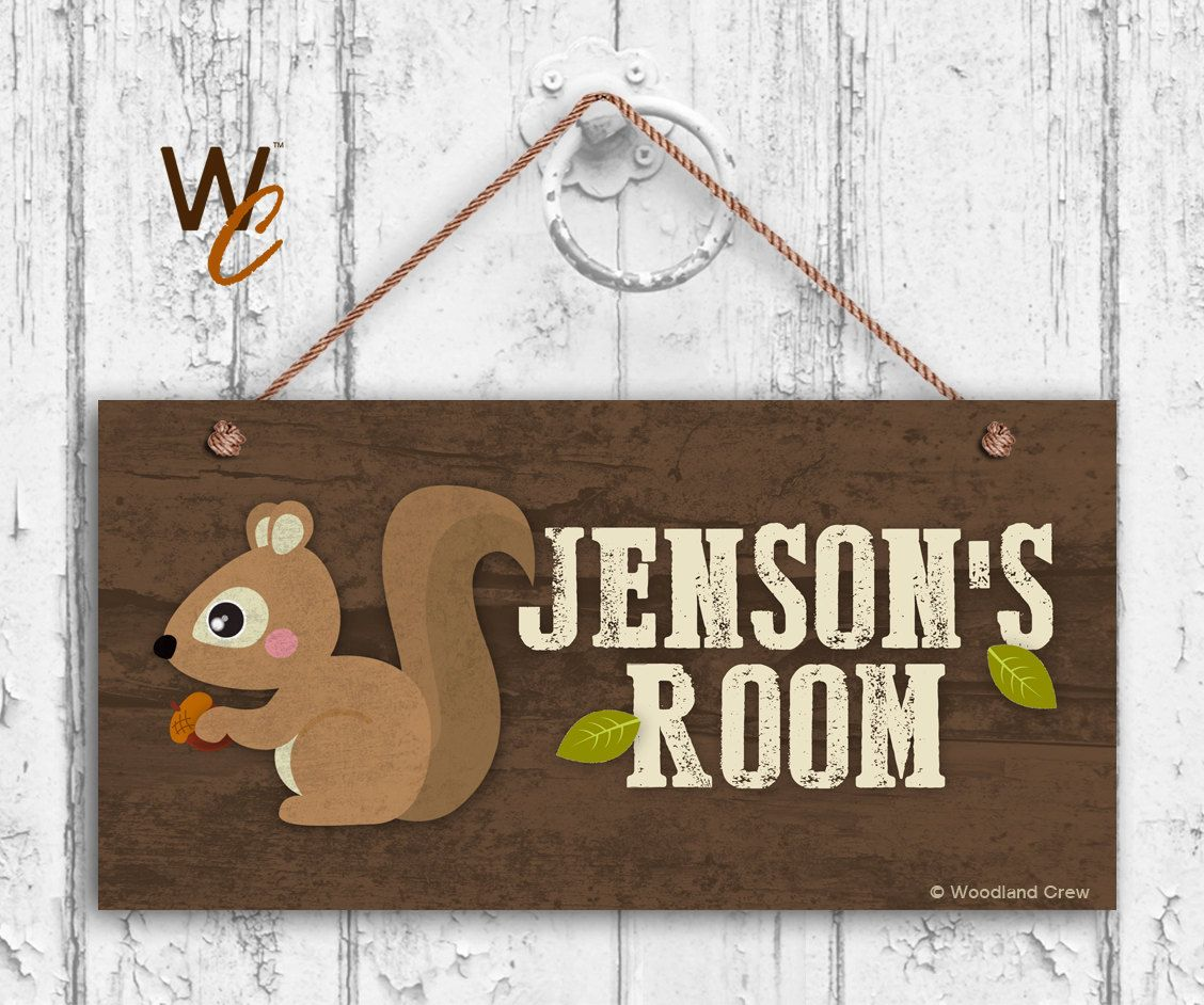 Squirrel Sign, Woodland Personalized Sign,Kid\'s Name, Kids Door ...