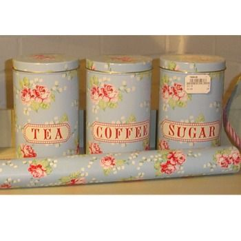 Maison Blue English Rose Tea Coffee Sugar Canisters Canister