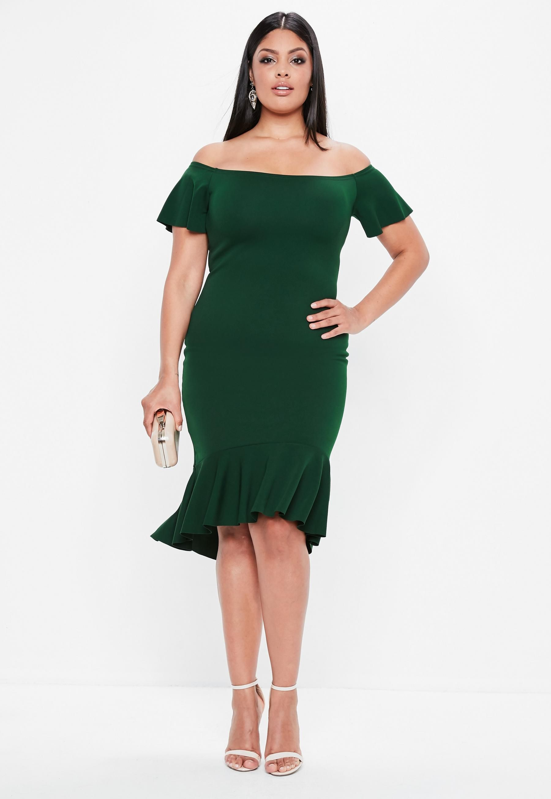 821be6523 Curve Green Bardot Dip Kick Hem Bodycon Dress