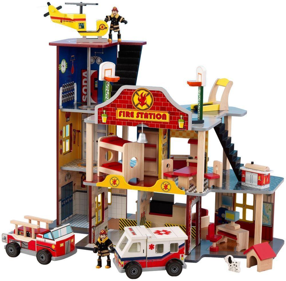 Fire Department Rescue Ems Playhouse Boys Dollhouse Set