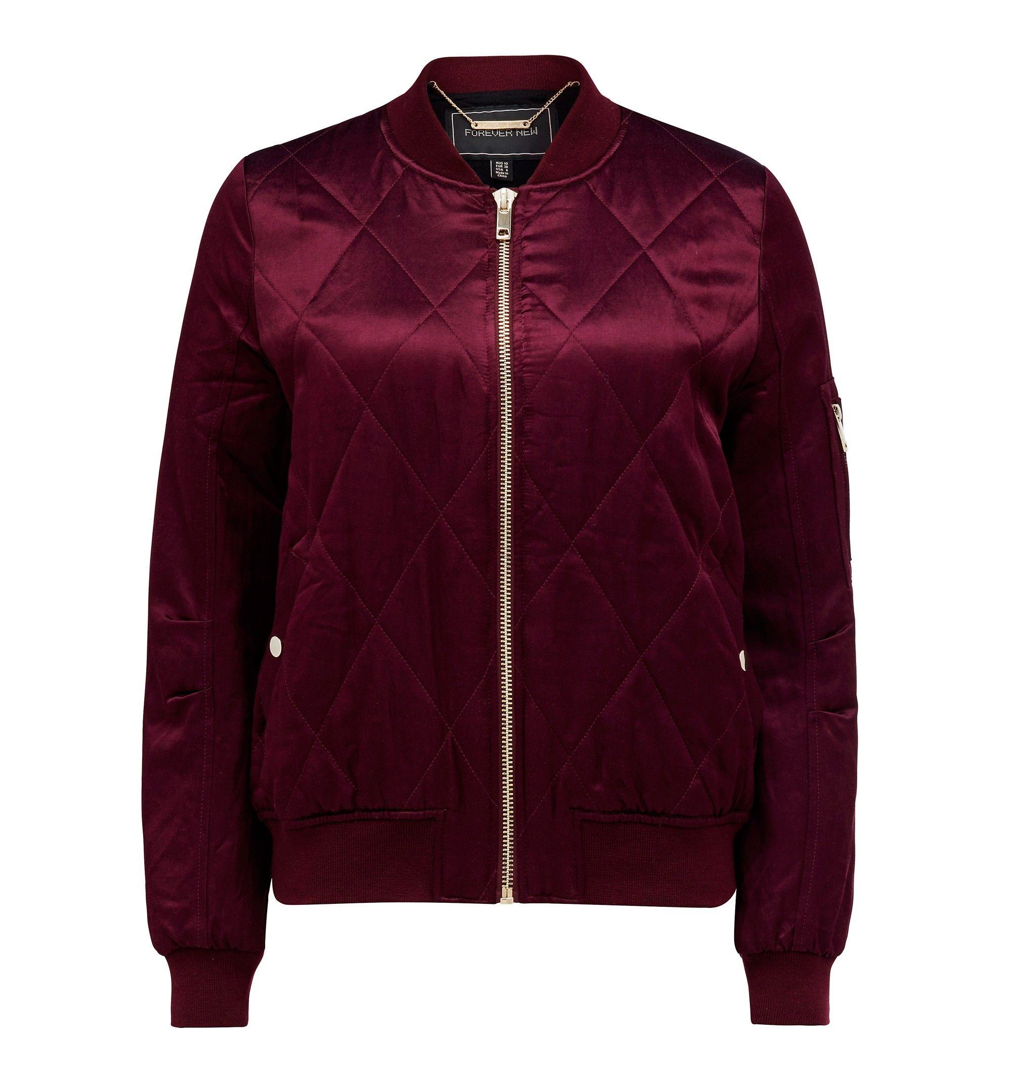 Cara bomber jacket Burgundy Womens Fashion Forever New