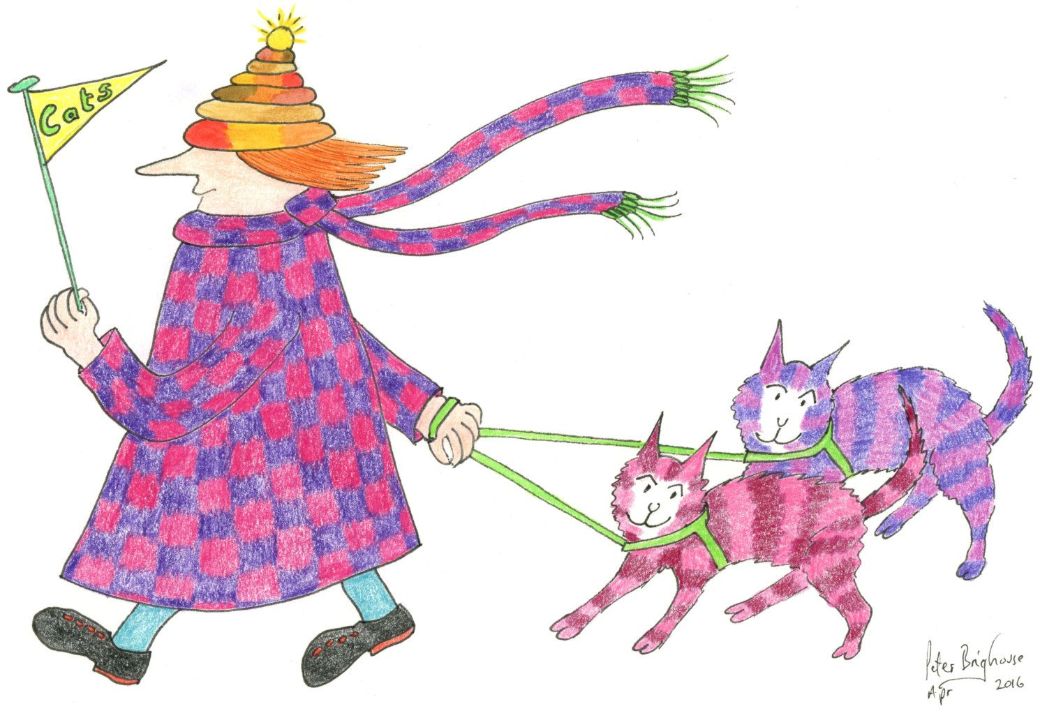 C6 card madpiedcatwoman red purple chequered coat 2 matching cats card red purple chequered coat 2 matching cats on leads small blank greetings card matt finish by mrsquimpscatshop on etsy kristyandbryce Image collections