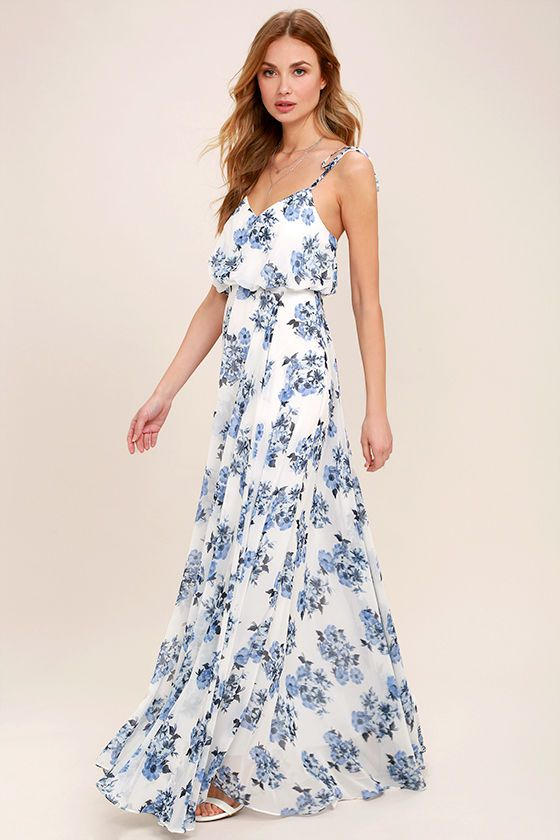 8b5d12412598 Pollen for You Blue and White Floral Print Maxi Dress