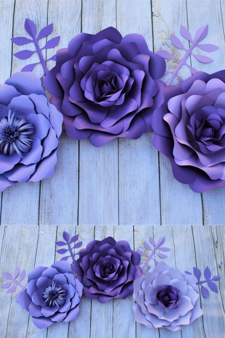 Purple Paper Flowers Wall Decor Lavender Paper Flowers Wall Decor Paper Flowers Decoration In 2020 Paper Flower Wall Lavender Paper Flowers Paper Flower Wall Decor