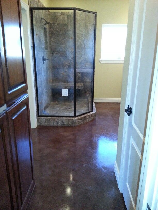 How Gorgeous Is This Floor Walnut Stain On Master Bathroom Premier Concrete Designs Llc Fayetteville Ar 479 387 7895 Give Russ A Call Today About