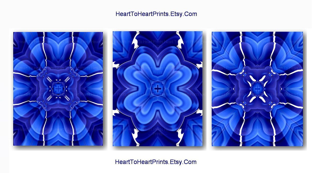 Royal blue wall art cobalt blue floral abstract wall decor