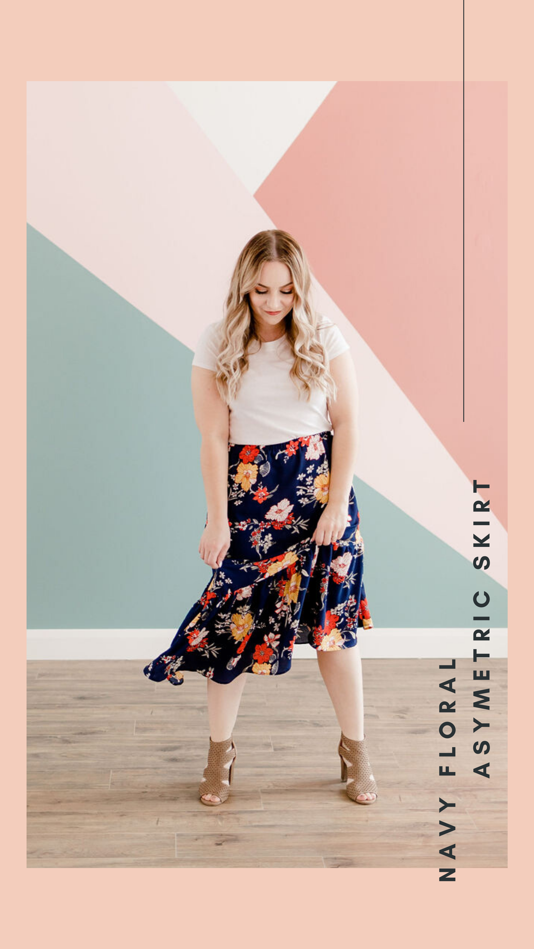 Our navy floral asymmetric ruffle skirt is what skirt dreams are made of! The midi length is flattering and perfect for busy ladies. The waist is elastic which makes it super comfortable. You can wear it with our wrap top or with your favorite graphic tee. #juniperdressco #handmadeskirt #skirt #customskirt #juniperclothing #modestclothing #slowfashion #ootd #modestootd #utahstyle  #madeintheUSA #skirtoutfit #skirtstyle #midiskirt #utahboutique #ruffleskirt #ruffles