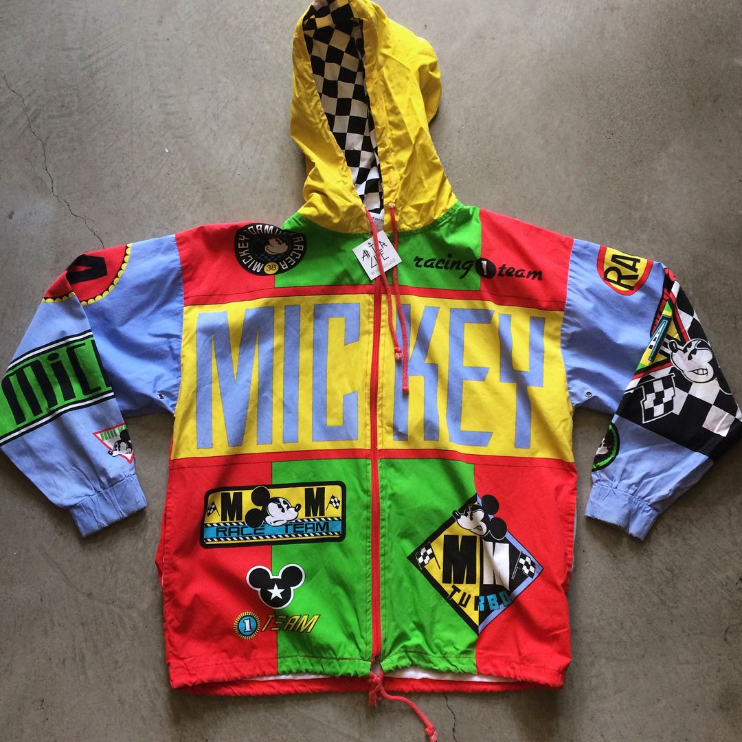 90s Mickey Mouse Formula 1 jacket, size S/M measures 23