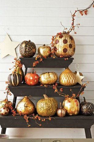 Perfect Pumpkin Ideas for Your Southern Porch: Metallic Patterned Pumpkins