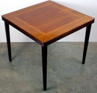 Attractive Vintage Castlewood Inlaid Mahogany Oak Wood Card Table Antique Folding