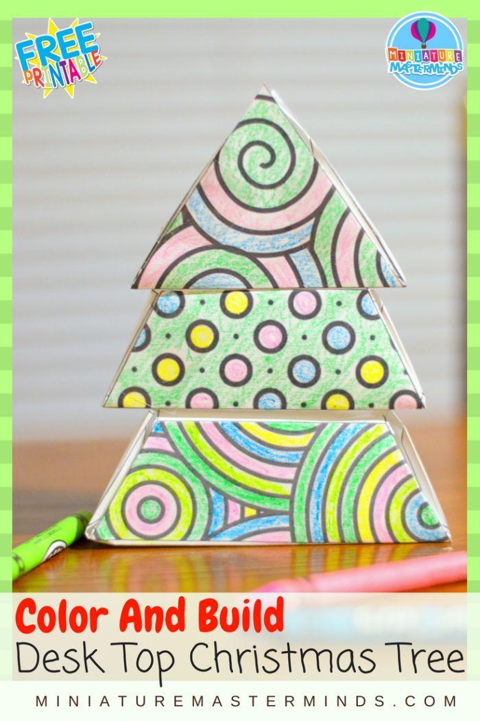 Color And Build Desk Top Christmas Tree Kid Craft Christmas Tree