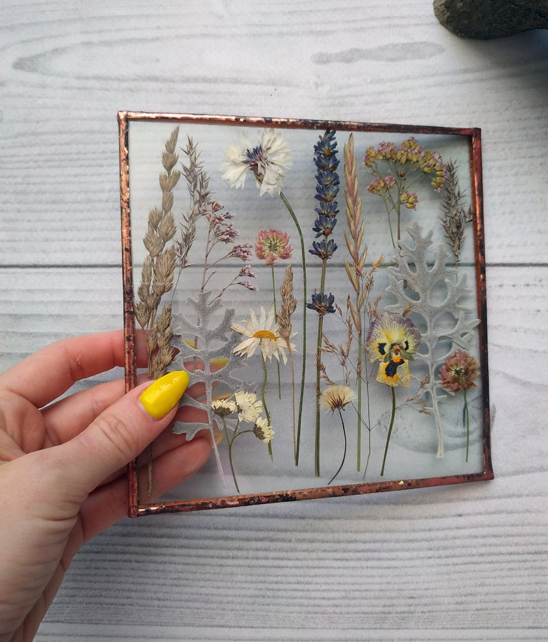 Pressed flower stained glass, pressed flower art, dried flower art, framed pressed botanicals on wood stand herbarium 6*6in -   18 cute planting Art ideas
