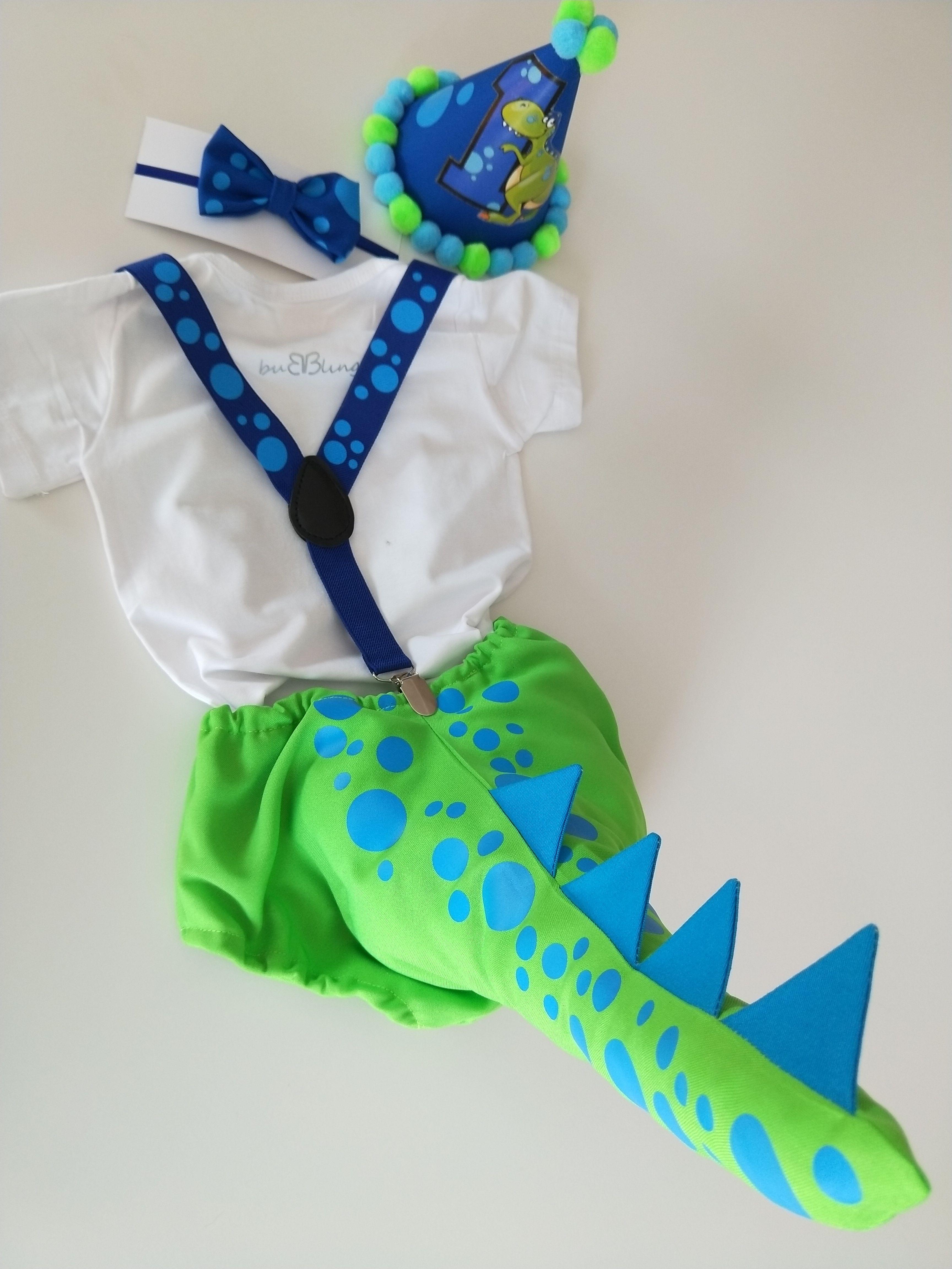 Blue//green Dinosaur Handmade.Prop Baby Boys 1st Birthday Cake Smash Outfit