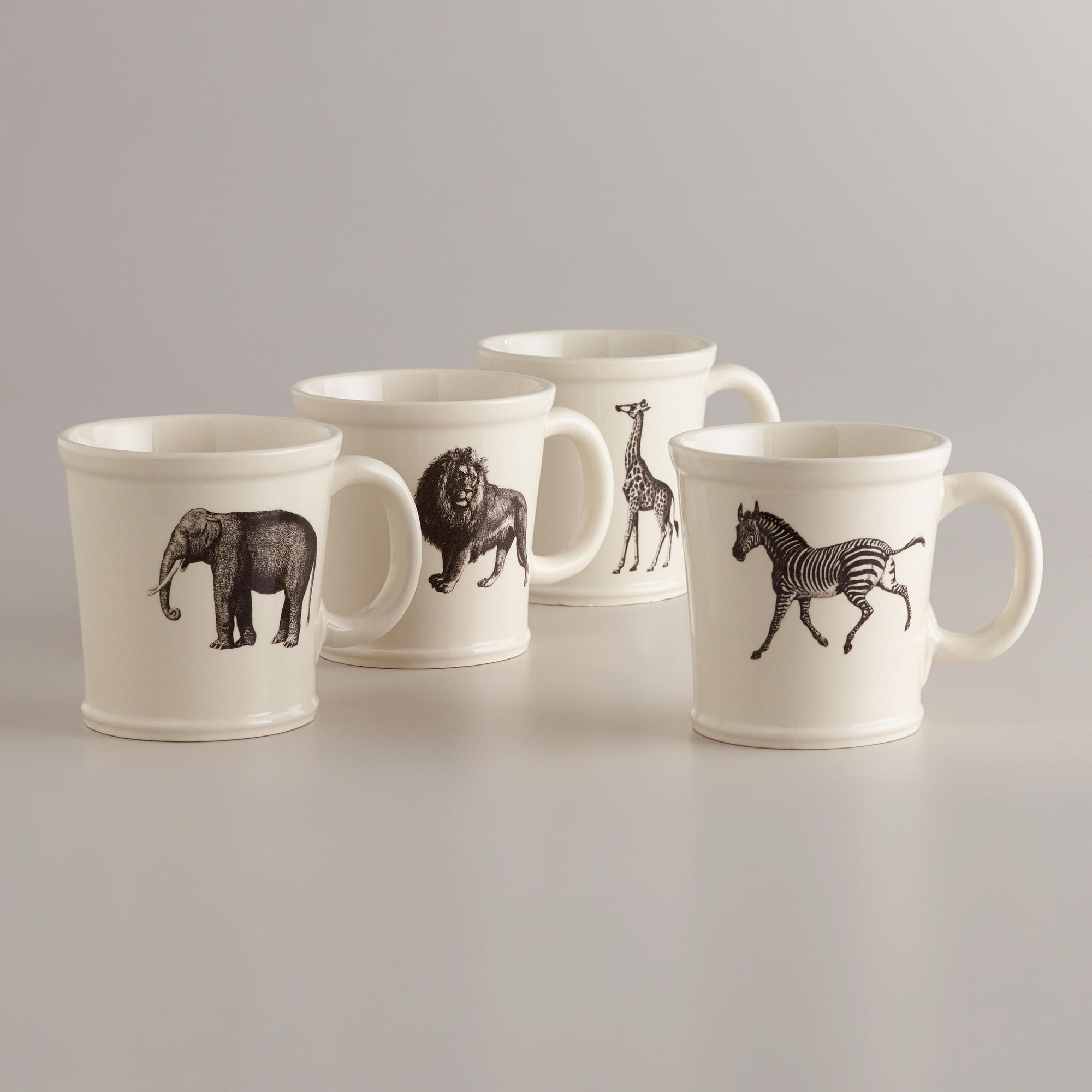 Animal Inspiration Mugs, Set of 4 World Market Mugs