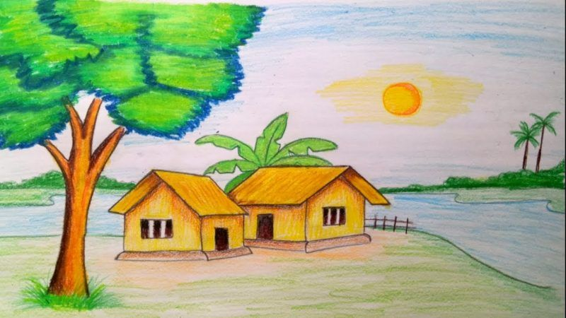 Cara Menggambar Rumah Cara Menggambar Atap Rumah Cara Menggambar Bentuki Rumah Cara Menggambar Rangka Ru Nature Drawing Drawing Scenery Nature Drawing Pictures