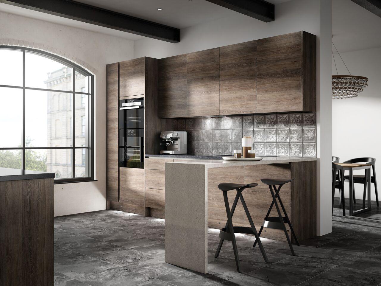 7 Piece Kitchen Units Dark Oak Handless Kitchen Rigid