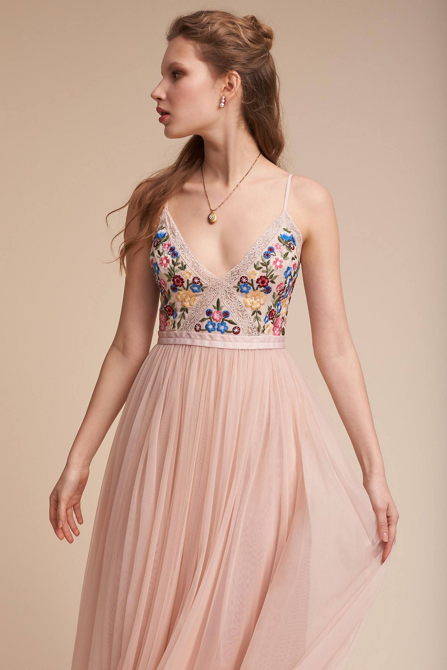 Floral and tulle wedding, bridesmaid, or wedding guest dress ...