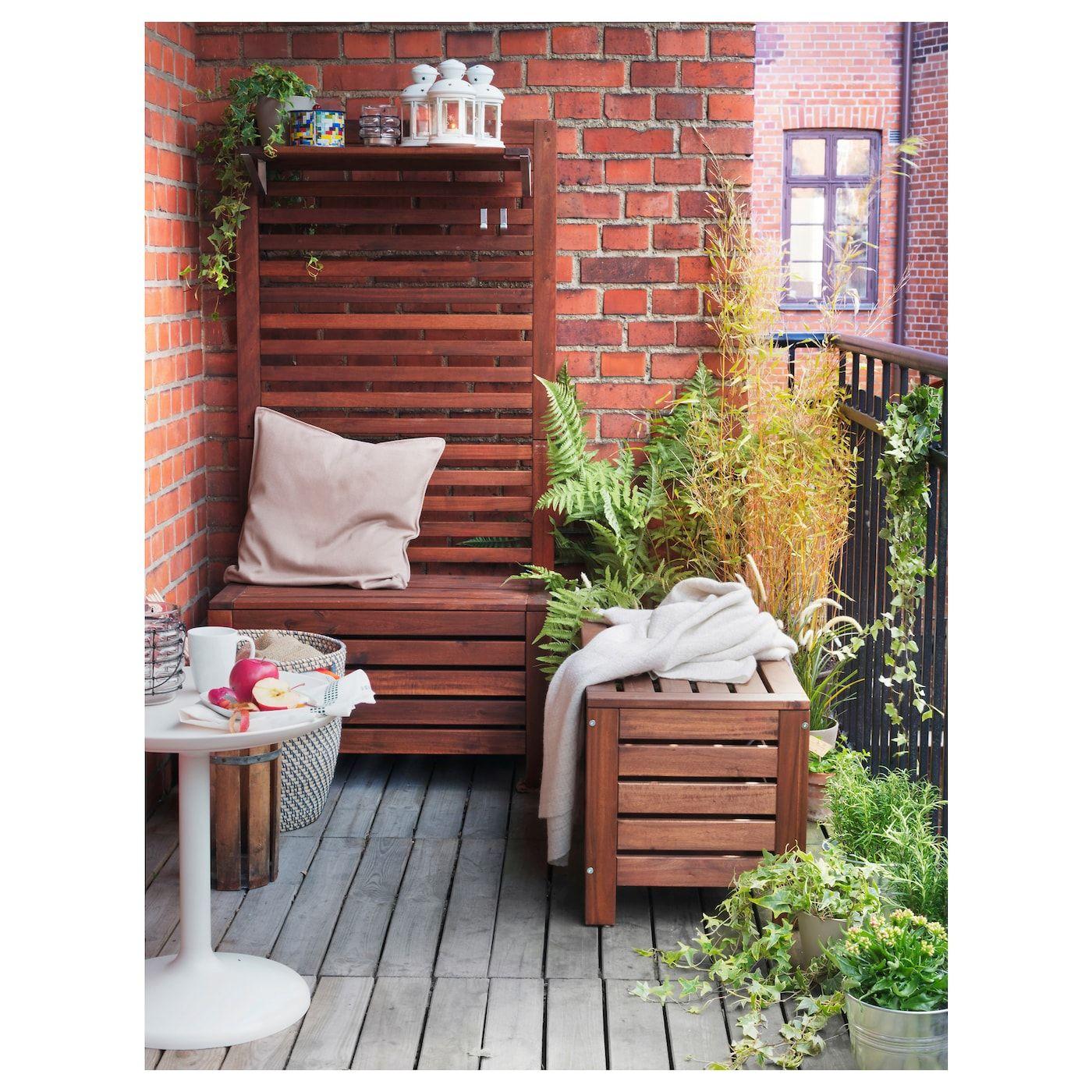 Applaro Benk Med Oppbevaring Utendors Brunbeiset Ikea Deco Petit Balcon Banc De Rangement Deco Balcon