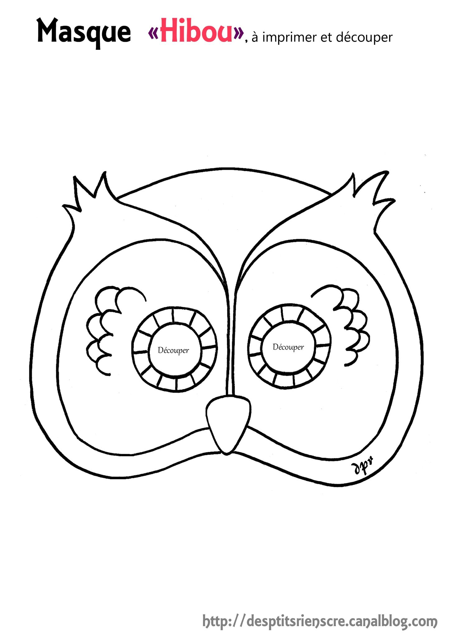 masque hibou copie colorier - Masque Colorier