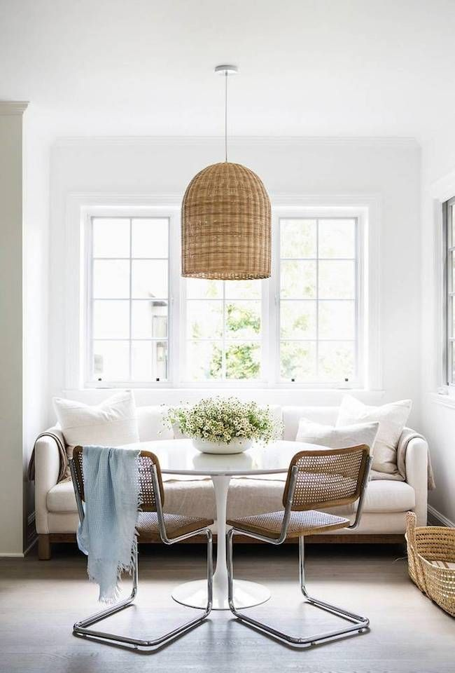 Design mistakes that almost everyone makes and how to fix them adorable breakfast nook with a couch for seating woven basket chandelier pendant light mozeypictures