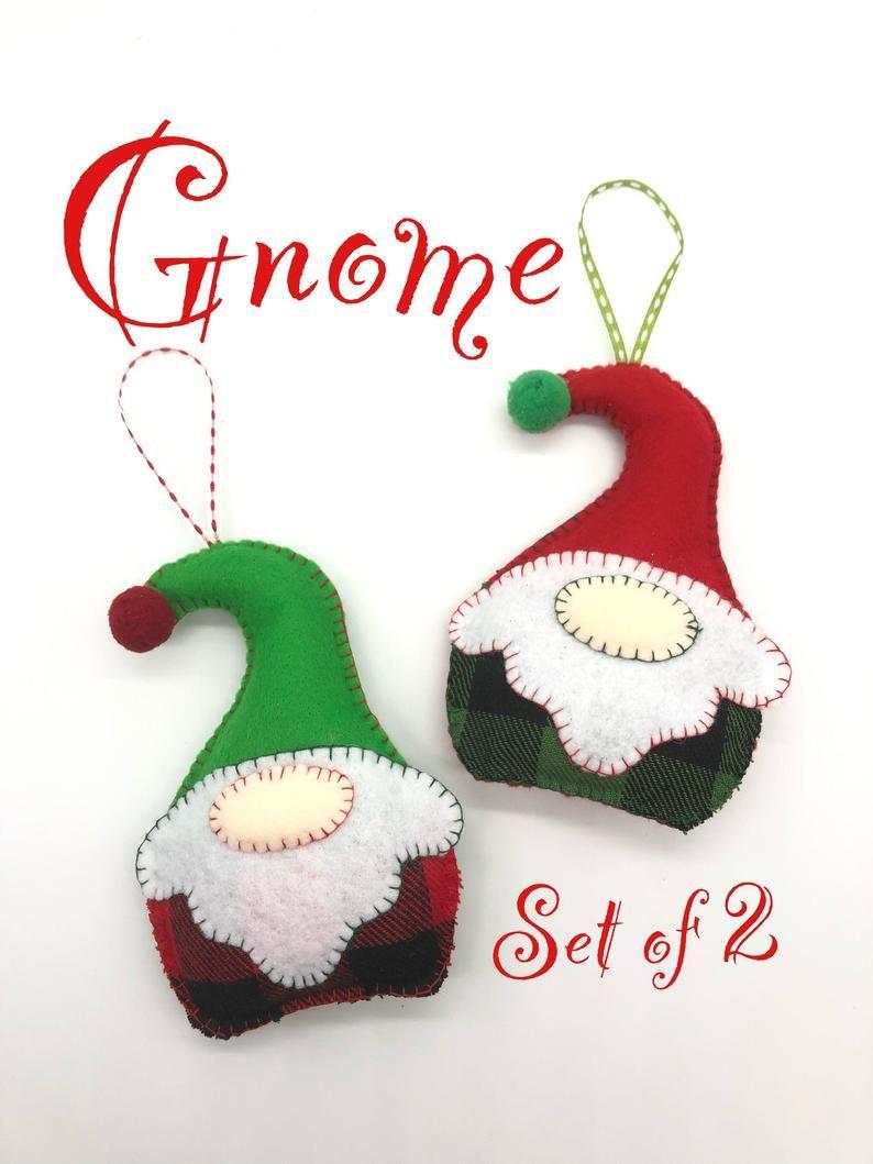 Gnome Christmas Ornaments Set Of 2 Christmas Ornaments Xmas Tree Ornaments Gnomes Xmas Tree Ornaments Felt Gnomes Ornaments Xmas Tree Ornament Christmas Ornaments Felt Ornaments