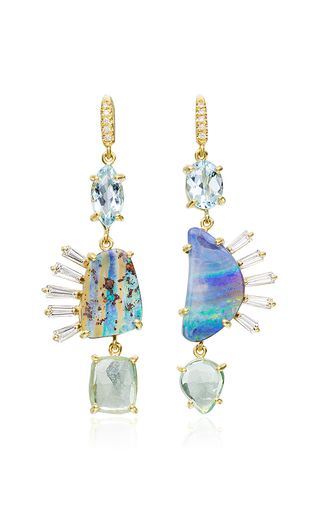 18 K Yellow Gold Aqua, Tourmaline And Boulder Opal Iris Earrings by LAUREN K