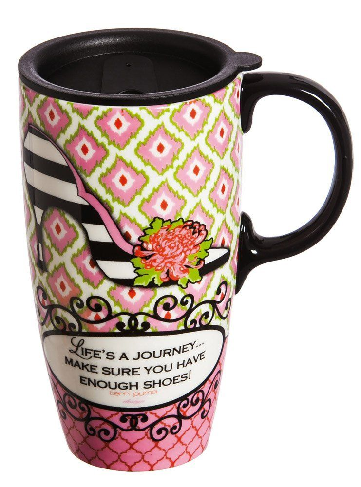 'Life's A Journey' 17 oz. Ceramic Latte Travel Cup with