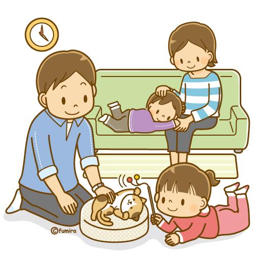 ネコと家族のイラスト ソフト 子供と動物のイラスト屋さん