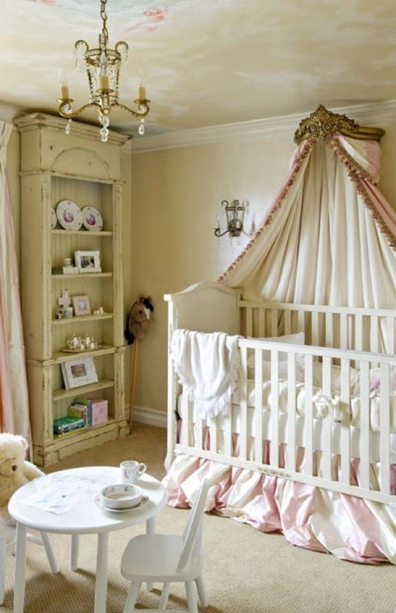 i wish i could sleep there...pretty nursery in beige, pink and white with mural ceiling