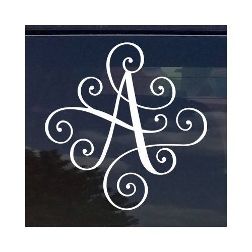 CUSTOM ELEGANT SCROLL VINE NAME LETTER VINYL DECAL  BUMPER - Letter custom vinyl decals for car