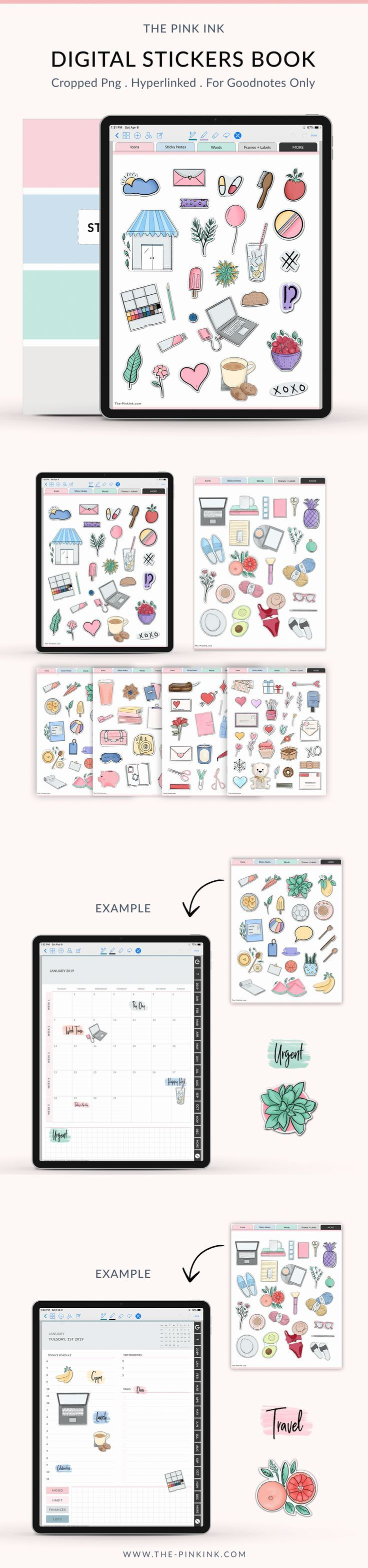 Digital sticker book planner for goodnotes 500 stickers pre cropped and installed