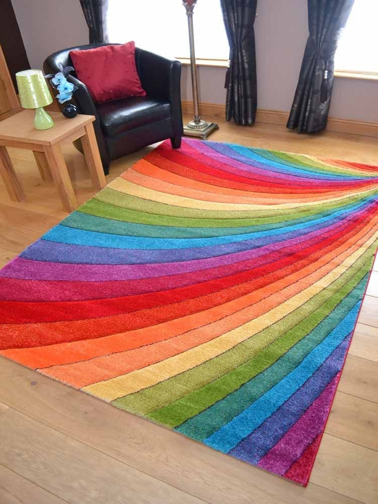 Modern Thick Dense Pile Bright Coloured Rainbow Floor Mat Rugs Long Hall  Runners
