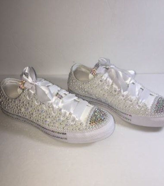 d92fe4d94aa3 KIDS Pearly White Glam Bedazzle Bling Converse All Star Chuck Taylor  Sneakers