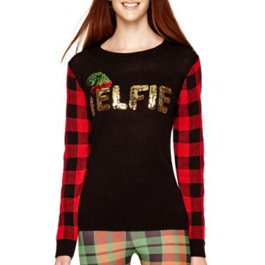 self esteem long sleeve christmas sweater found at jcpenney whimsical kitsch christmas. Black Bedroom Furniture Sets. Home Design Ideas