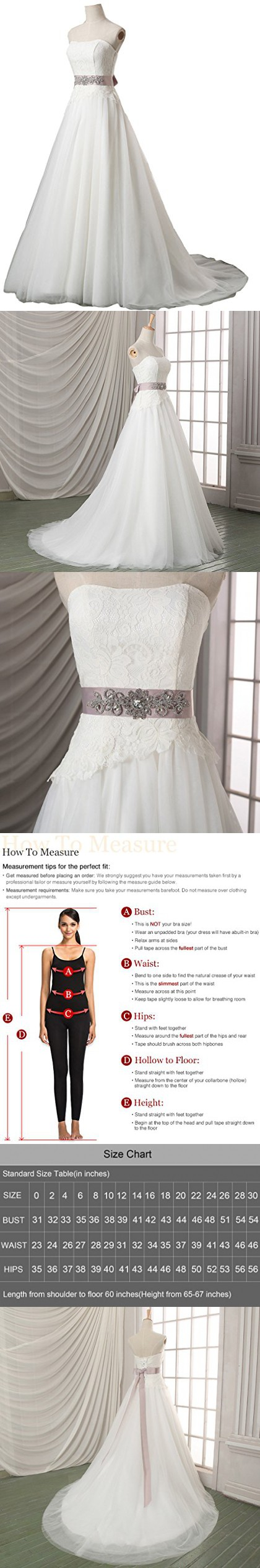 Best wedding dress for size 20  Snowskite Womens Aline Strapless Sweetheart Lace Tulle Wedding