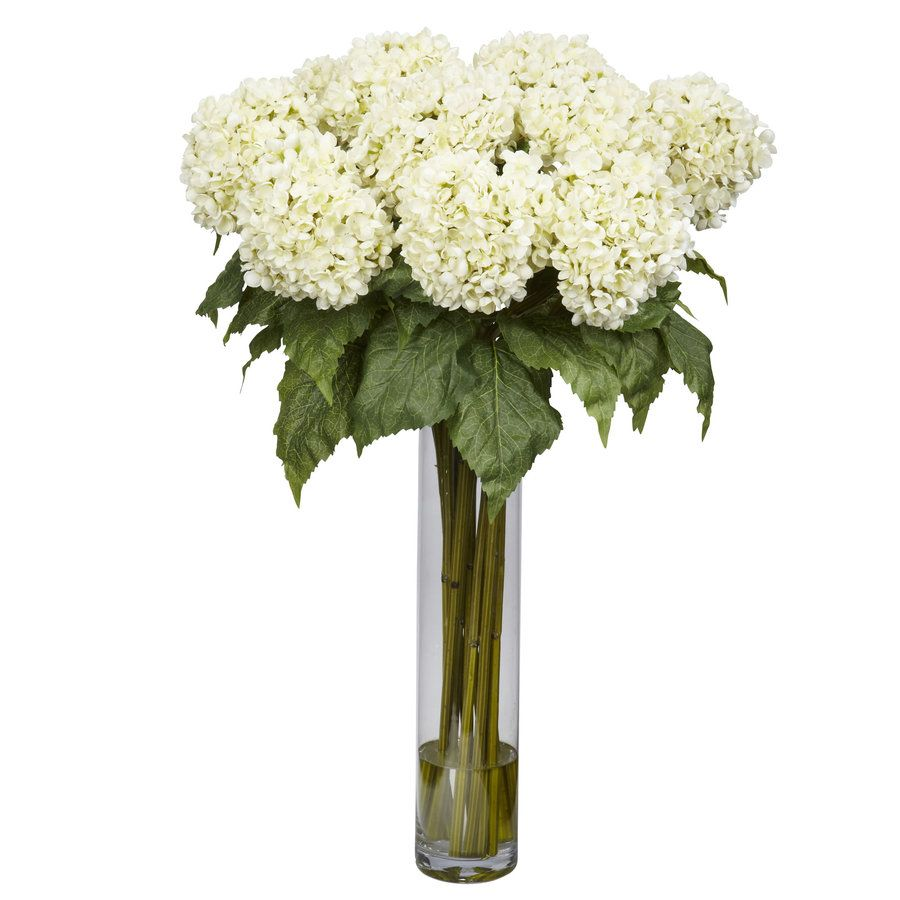 Nearly Natural 31 In White Artificial Silk Arrangement Lowes Com In 2020 Silk Hydrangeas Arrangements Hydrangea Flower Arrangements Hydrangea Arrangements