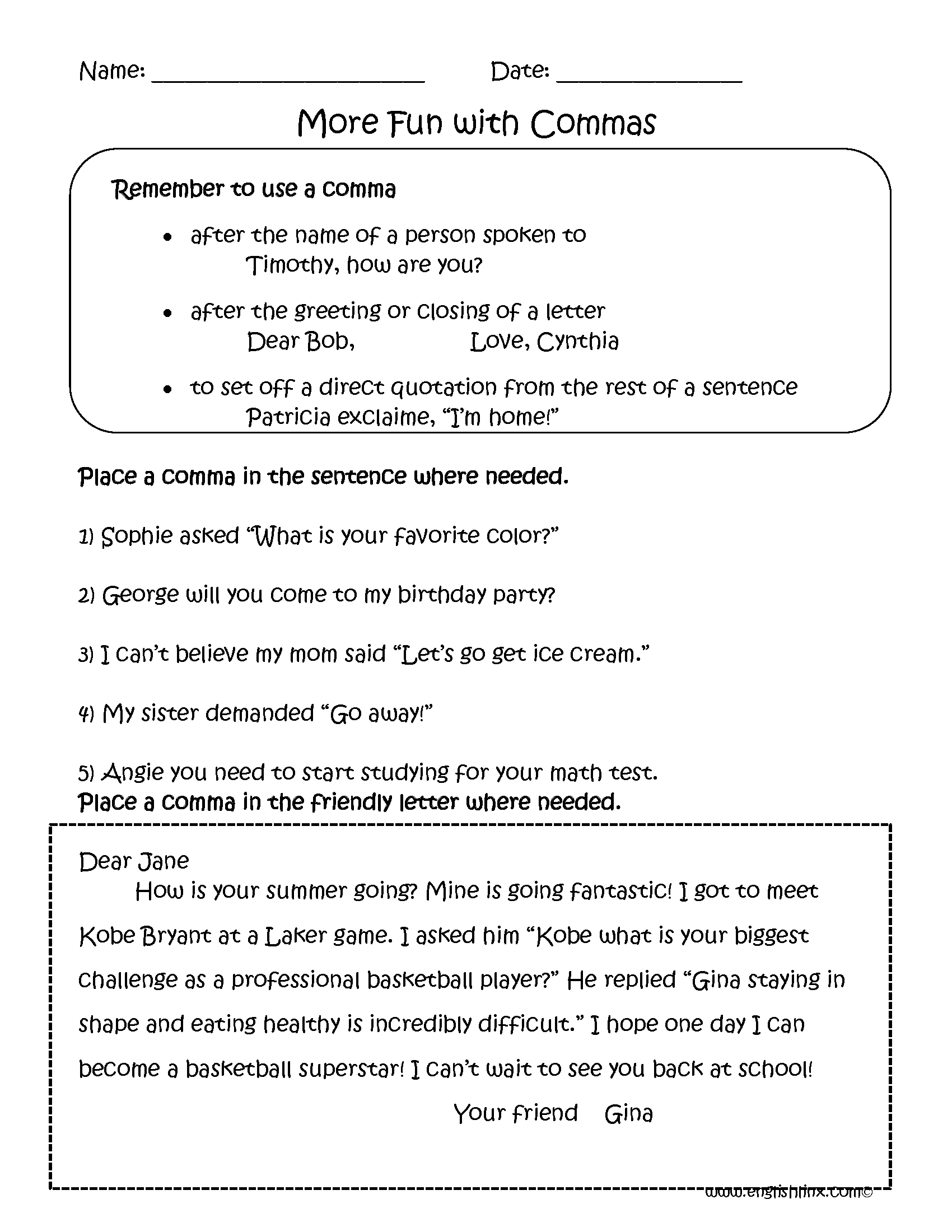 Fun with Commas Worksheets   Punctuation worksheets [ 2200 x 1700 Pixel ]